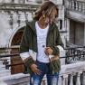 Women's New Autumn And Winter Stitching Zipper Teddy Fleece Hooded Jacket Wholesale NHDF10