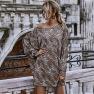 Women's Off-shoulder Leopard Print Oblique Shoulder Long-sleeved Knitted Jumpsuit Wholesale NHDF11