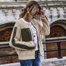 Women S Round Neck Long-sleeved Color Pocket Zipper Teddy Velvet Jacket Wholesale NHDF14