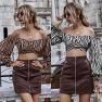 Tiger Print Ruffled Elastic Long-sleeved High-waisted Cross-waisted Short Shoulder Top Wholesale NHDF21