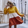 New Stitching Color Puff Sleeve A-line Skirt Mid-length Dress Wholesale NHDF24