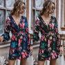 New Original Cross V-neck Long Sleeve Printed Dress Wholesale NHDF41