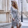 Autumn Women's Retro Casual Loose Mid-length Pleated Women's Long-sleeved Dress Wholesale NHDF46