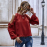 Women S Solid Color Long-sleeved Women S Loose Strapless Tops With Puff Sleeves NHDF48