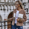 Hot Sale Women's One-piece Hair Stitching Leopard Zipper Casual Flocking Jacket With Long Sleeves NHDF51