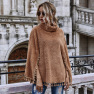 Hot New Women's Solid Color Slim Fashion High-neck Fringed Hem Cloak Long-sleeved Jacket  NHDF53