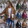 Women's Autumn/winter Hot Sale Solid Color Cardigan Lapel Suede Long Sleeve Jacket  NHDF58
