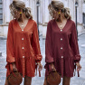 V-neck Puff Sleeve Bowknot Tie Lantern Long Sleeve Pure Color Casual Dress Wholesale NHDF64
