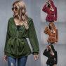 Fall/winter New Loose Slim Slim Tooling High Waist Fashion Casual Sports Long Sleeve Jacket  NHDF86
