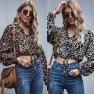 Ladies Leopard Print Lace-up Tops Wholesale NHDF87