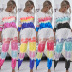 hot style printed tie-dye sweater women's long-sleeved round neck pullover sweater set NHDF88