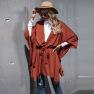 New Women's Loose Bat Sleeve Long Sleeve Cardigan Strappy Cloak Coat NHDF89