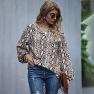 Women's Loose Leopard Print Long Sleeve Chiffon Top V-neck Blouse  NHDF98