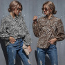 Sexy Hedging Leopard Print Stitching Loose Casual Long-sleeved Top Wholesale NHDF99