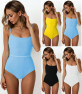Hot Style One-piece Swimsuit Solid Color Special Cloth Belt Integrated Bikini  NSDA134