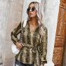 Autumn Women's New Tops Retro V-neck Tie-waist Top Wholesale NSKA190