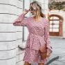 New Autumn Women's Clothing Store Bursting Round Neck Sweet Floral Dress NSKA200