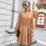 Women's Clothing 2020 New Autumn Elegant V-neck Tie Rope Dress NSKA210