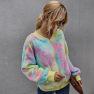 Women's Clothing Winter Contrast Color Tie-dye Long-sleeved Plush Jacket Women NSKA214