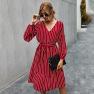 Autumn 2020 Simple Striped Dress For Women NSKA215