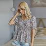Summer Women S New Floral Blouse Short Sleeve V-neck Sexy Shirt  NSKA270