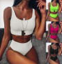 Hot Sale High Waist Solid Color Pit Strip Swimsuit Split Buckle Bikini Wholesale NSDA165