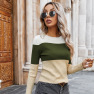 Autumn Women's New Tops Hot Style Slim Contrast T-shirt Wholesale NSKA275