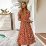 Fashion Women's Summer Polka Dot Short Sleeve Dress Shirt Collar Skirt Wholesale NSKA293