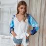 Autumn/winter Contrast Color Tie-dye Long-sleeved T-shirt Wholesale NSKA298