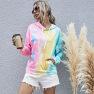 Women's Digital Printing Long-sleeved Loose Hooded Tie-dye Sweater Tops NSDF330