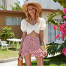 Summer New Red Floral High-waisted Slimming Half-length Pleated A-line Skirt  NSDF402