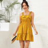 Women's Summer New Pleated Ruffled High Waist Elastic Suspender Skirt Vacation Polka Dot Dress NSDF405