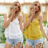 Hot Style New Solid Color Ruffled Sling Vest Top Wholesale NSDF406