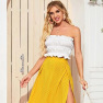 Summer Ruffled Short Umbilical White Top Slim Breast-wrapped Strapless  NSDF408