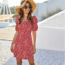 Spring And Summer New Floral Print Lantern Sleeve Square Neck Waist Dress NSDF411