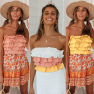 Spring And Summer New Style Ruffled Color Matching Back Strapless Tube Top NSDF410