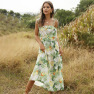 Sling Wrapped Chest Lace Fruit Print Long Dress Wholesale NSDF417