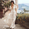 Hot Women's Bohemian Ruffled Floral V-neck Dress  NSDF422