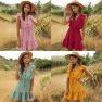 Women's Summer New Yellow V-neck Ruffled Bubble Lace Dress Wholesale NSDF426