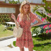 summer new drawstring floral skirt feminine waist slimming mid-length chiffon dress NSDF515