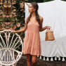 Orange Ajustable Shoulder Strap V-neck Open Back Large Dress Wholesale  NSDF812