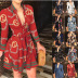 autumn and winter new style long-sleeved V-neck strap fashion sexy printed dress NSYF833