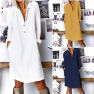 Autumn New Women's Solid Color Cotton And Linen Long Sleeve Dresses NSYF835