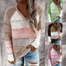 New Autumn And Winter V-neck Long-sleeved Pullover Color-blocking Sweater Top NSYF838