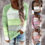New Autumn And Winter Round Neck Long Sleeve Pullover Color Block Sweater Top NSYF850