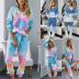 tie-dye printing pullover long-sleeved T-shirt women's loose gradient color trousers two-piece set NSYF854