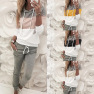 Women's New Fashion Color Block Stitching Long-sleeved Casual Sweater Suit NSYF855