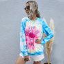 Hot Sale New Women's Digital Print Round Neck Long Sleeve Tie-Dye Sweater  NSDF907
