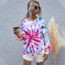New Fall/winter Women's Digital Printing Round Neck Knitted Long-sleeved Tie-dye Sweater  NSDF911