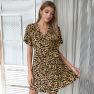 Women's Sexy Leopard Print V-neck New Dress  NSKA962